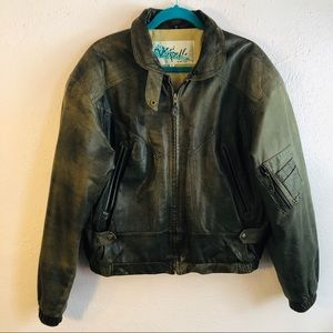 Distressed & weathered vintage brown bomber jacket